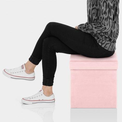 Rubic Foldaway Ottoman Pink Velvet Seat Image