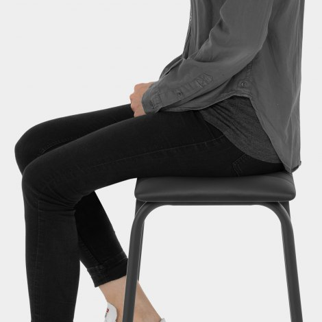 Sasha Real Leather Stool Black Seat Image