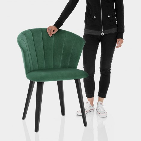 Scroll Dining Chair Green Velvet Features Image
