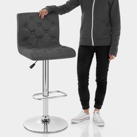 Seattle Gas Lift Stool Charcoal Fabric Features Image