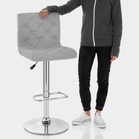 Seattle Gas Lift Stool Grey Fabric Features Image