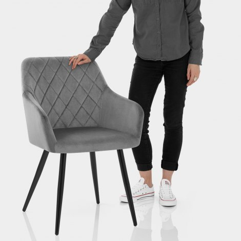 Shelby Armchair Grey Velvet Features Image