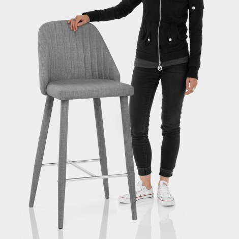 Shelby Bar Stool Grey Fabric Features Image
