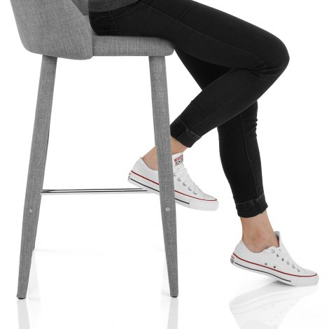 Shelby Bar Stool Grey Fabric Seat Image