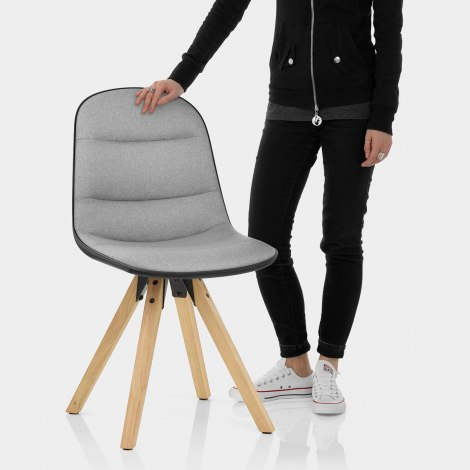 Ski Dining Chair Grey & Black Features Image