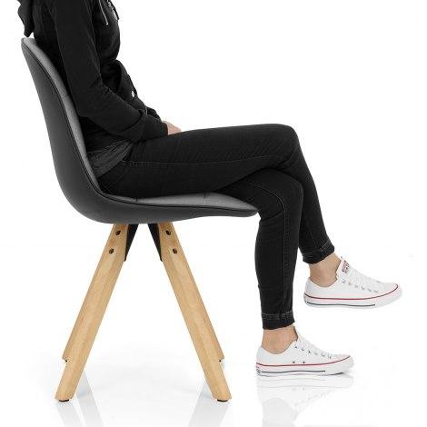 Ski Dining Chair Grey & Black Seat Image