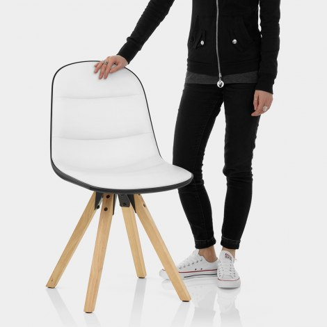 Ski Dining Chair White & Black Features Image