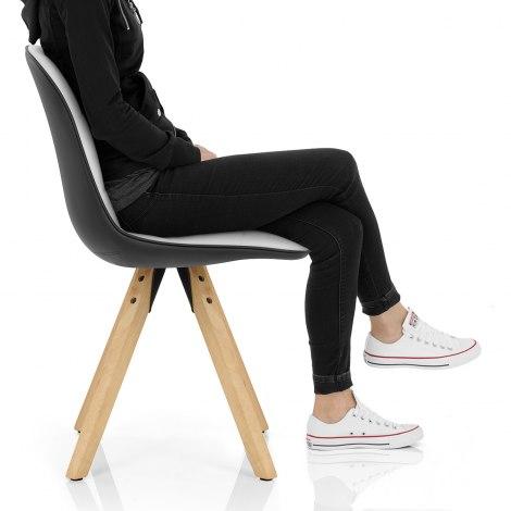 Ski Dining Chair White & Black Seat Image