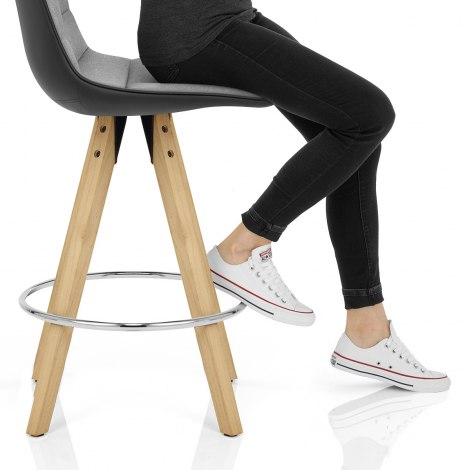 Ski Bar Stool Grey & Black Seat Image