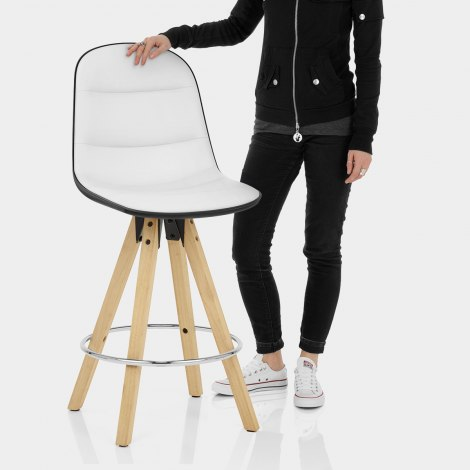 Ski Bar Stool White & Black Features Image