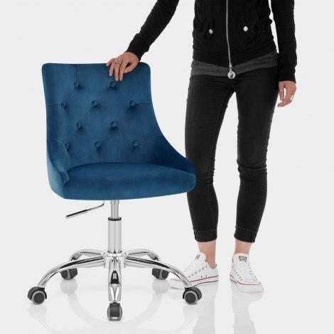 Sofia Office Chair Blue Velvet Features Image