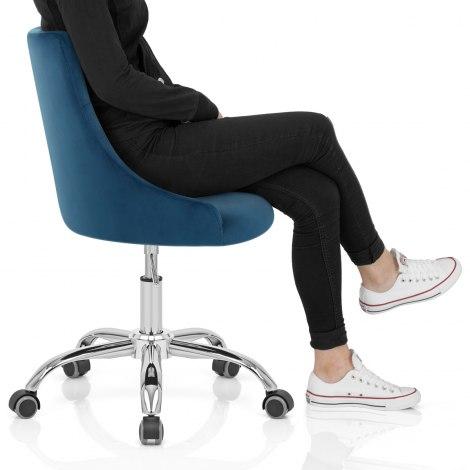 Sofia Office Chair Blue Velvet Seat Image