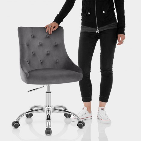 Sofia Office Chair Charcoal Velvet Features Image