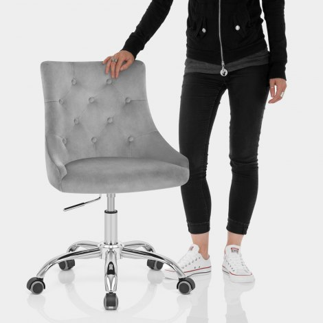 Sofia Office Chair Grey Velvet Features Image