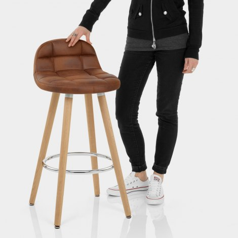 Sole Wooden Stool Antique Brown Features Image