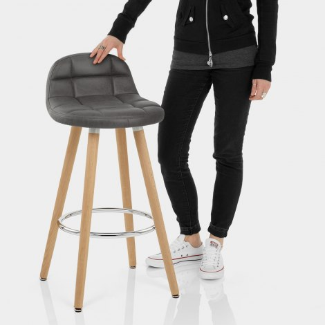 Sole Wooden Stool Grey Features Image