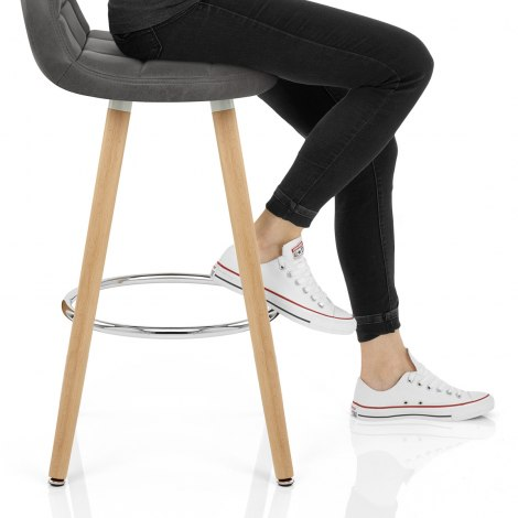 Sole Wooden Stool Grey Seat Image