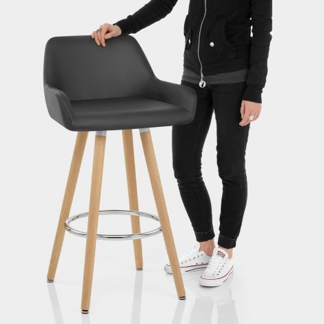Solo Wooden Bar Stool Black Features Image