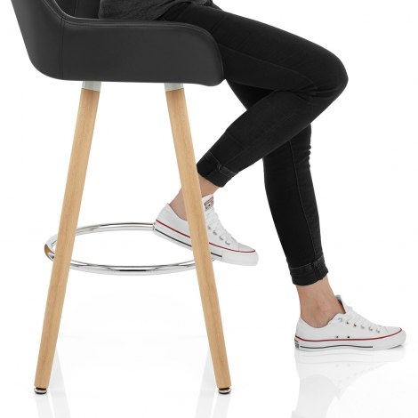 Solo Wooden Bar Stool Black Seat Image