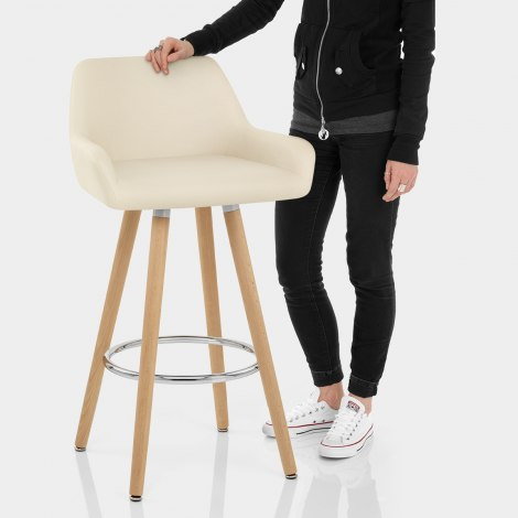Solo Wooden Bar Stool Cream Features Image