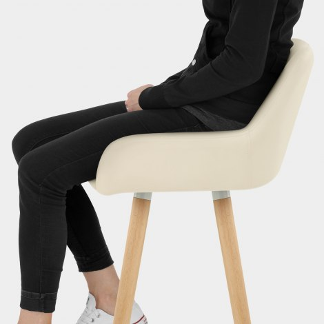 Solo Wooden Bar Stool Cream Seat Image