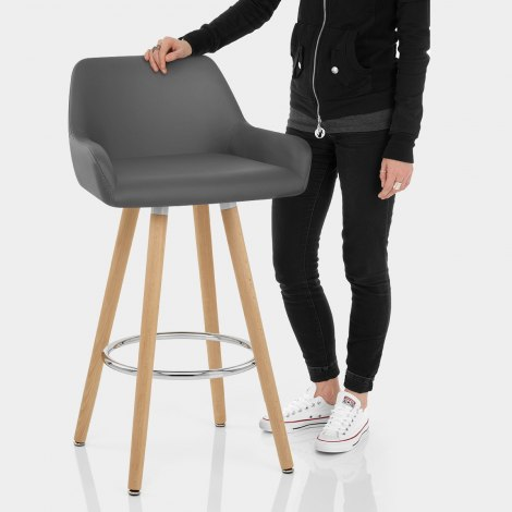 Solo Wooden Bar Stool Grey Features Image