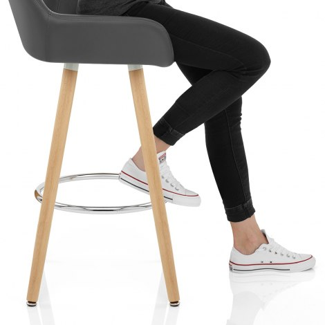 Solo Wooden Bar Stool Grey Seat Image