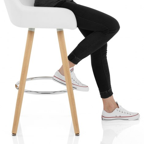 Solo Wooden Bar Stool White Seat Image