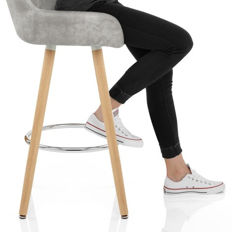 Solo Wooden Stool Antique Grey Seat Image