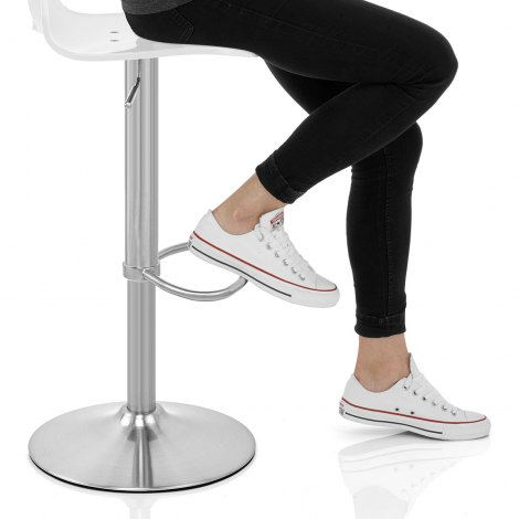 Stardust Brushed Steel Bar Stool White Seat Image