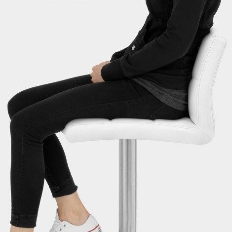 Starz Brushed Real Leather Stool White Seat Image