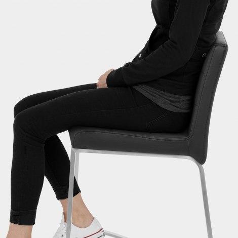 Stella Brushed Steel Stool Black Seat Image