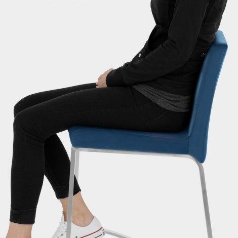 Stella Brushed Stool Blue Velvet Seat Image