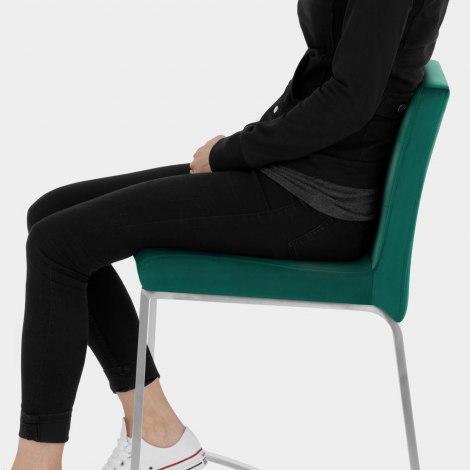 Stella Brushed Stool Green Velvet Seat Image