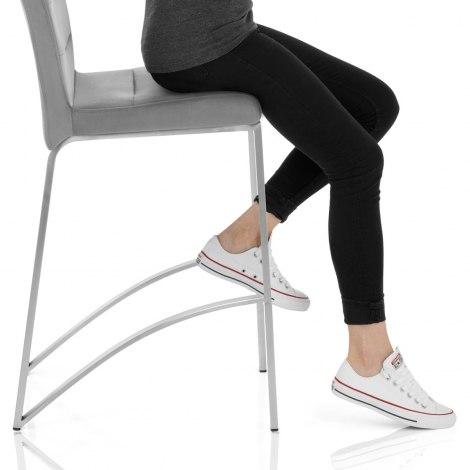 Stella Brushed Stool Grey Velvet Seat Image