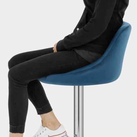 Stitch Bar Stool Blue Velvet Seat Image