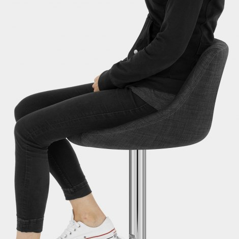 Stitch Bar Stool Charcoal Fabric Seat Image