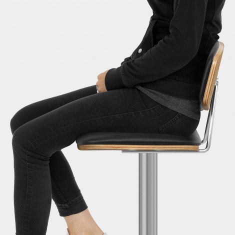 Strada Oak Bar Stool Black Seat Image
