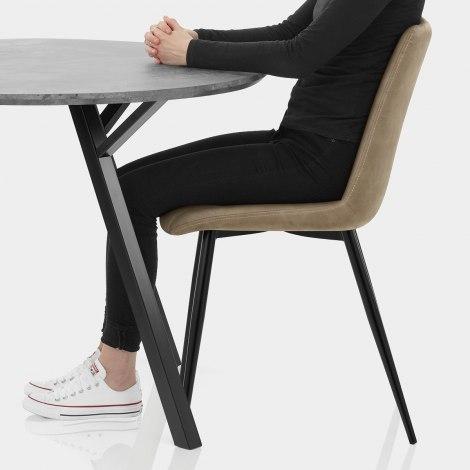 Sussex Dining Set Concrete & Brown Seat Image