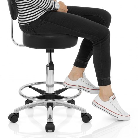 Swivel Stool With Back Black Seat Image