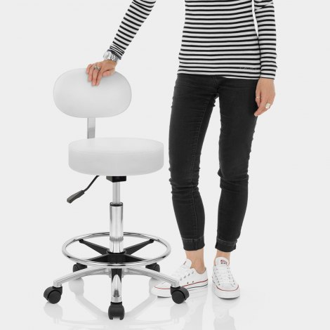 Swivel Stool With Back White Features Image