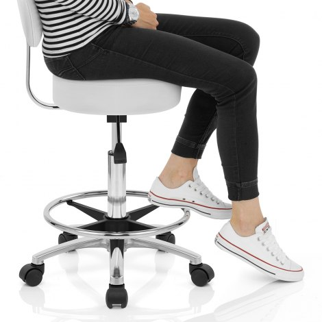 Swivel Stool With Back White Seat Image
