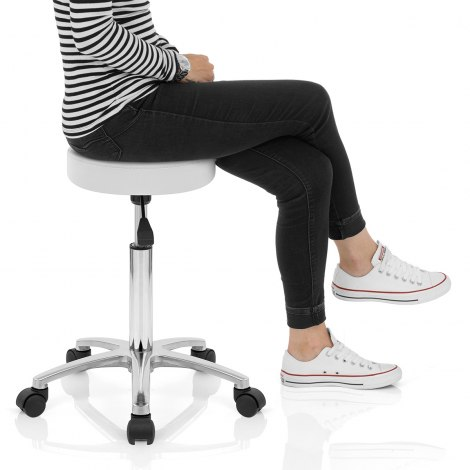 Swivel Stool With Wheels White Seat Image