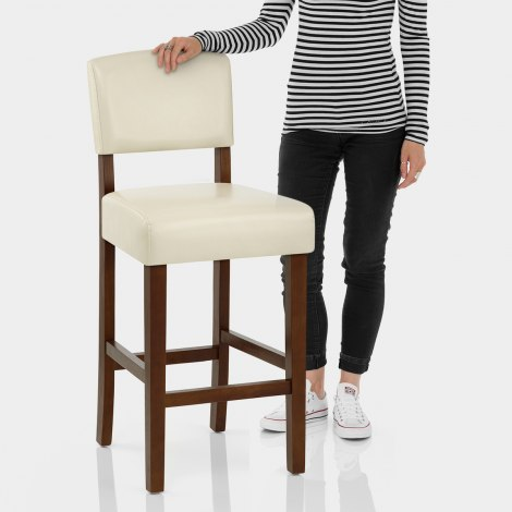 Sydney Walnut Bar Stool Cream Features Image
