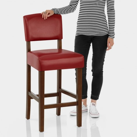 Sydney Walnut Bar Stool Red Features Image