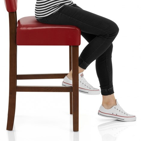 Sydney Walnut Bar Stool Red Seat Image