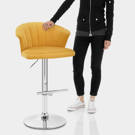 Symphony Bar Stool Mustard Velvet Features Image
