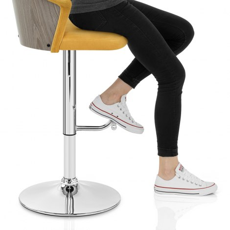 Symphony Bar Stool Mustard Velvet Seat Image