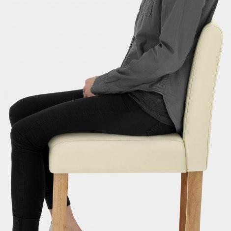 Tetbury Oak Bar Stool Cream Leather Seat Image