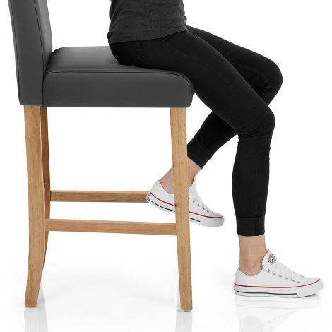 Tetbury Oak Bar Stool Grey Leather Seat Image